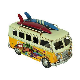 Yellow Tin Vintage Flower Power Hippie Surfer Van