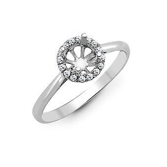 Jewelco London Solid 18ct White Gold Pave Set Round G SI1 0.12ct Diamond Semi Set Mount Engagement Ring 8.5mm