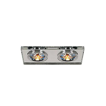 Diyas Crystal Dual Head Downlight Rectangle Rim Only Clear, IL30800 Required To Complete The Item