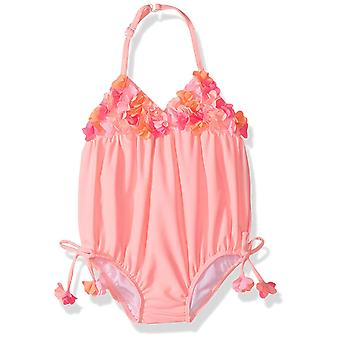 Kate Mack Girls' Tropical Mermaid Bubble Swimsuit, Coral, 24M