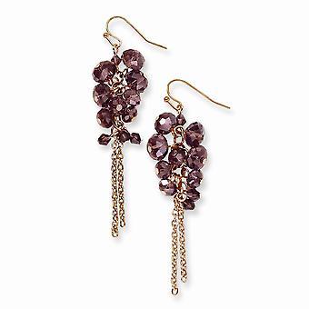 Rose tone Shepherd krok Mässing ton Brun Crystal Pärl Cluster Long Drop Dingla Örhängen Smycken Gåvor för kvinnor