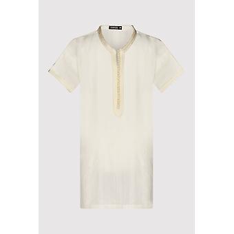 Gandoura haroun boy's kurzarm kragenlose lange Robe thobe in beige (2-12yrs)