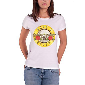 Guns N Roses T Shirt Classic Bullet band Logo Official Womens Skinny Fit White