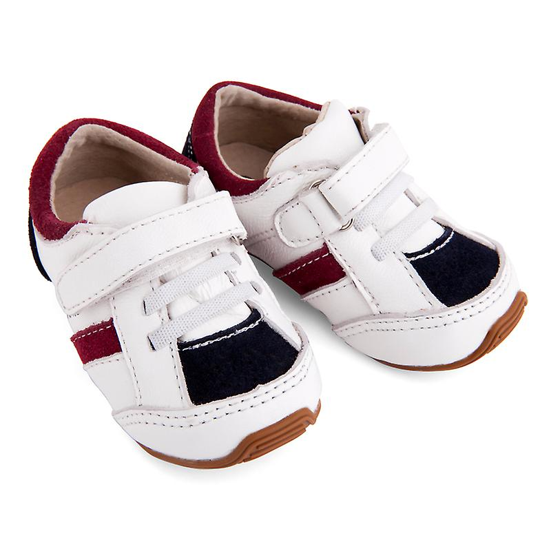 SKEANIE Toddlers and Kids Leather Trainers in White and Navy