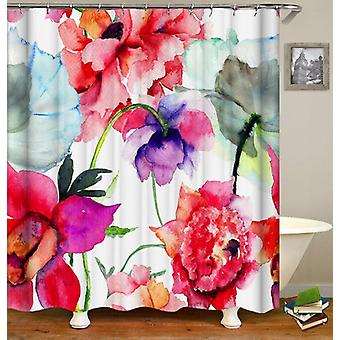 Flowers Water Painting Shower Curtain