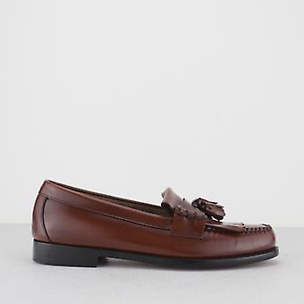 Bass WeeJuns Layton Mens Leather Kiltie Fringe Loafers Mid Brown