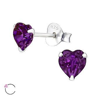 Hjärta kristall från Swarovski® - 925 Sterling Silver öra dubbar - W24394X