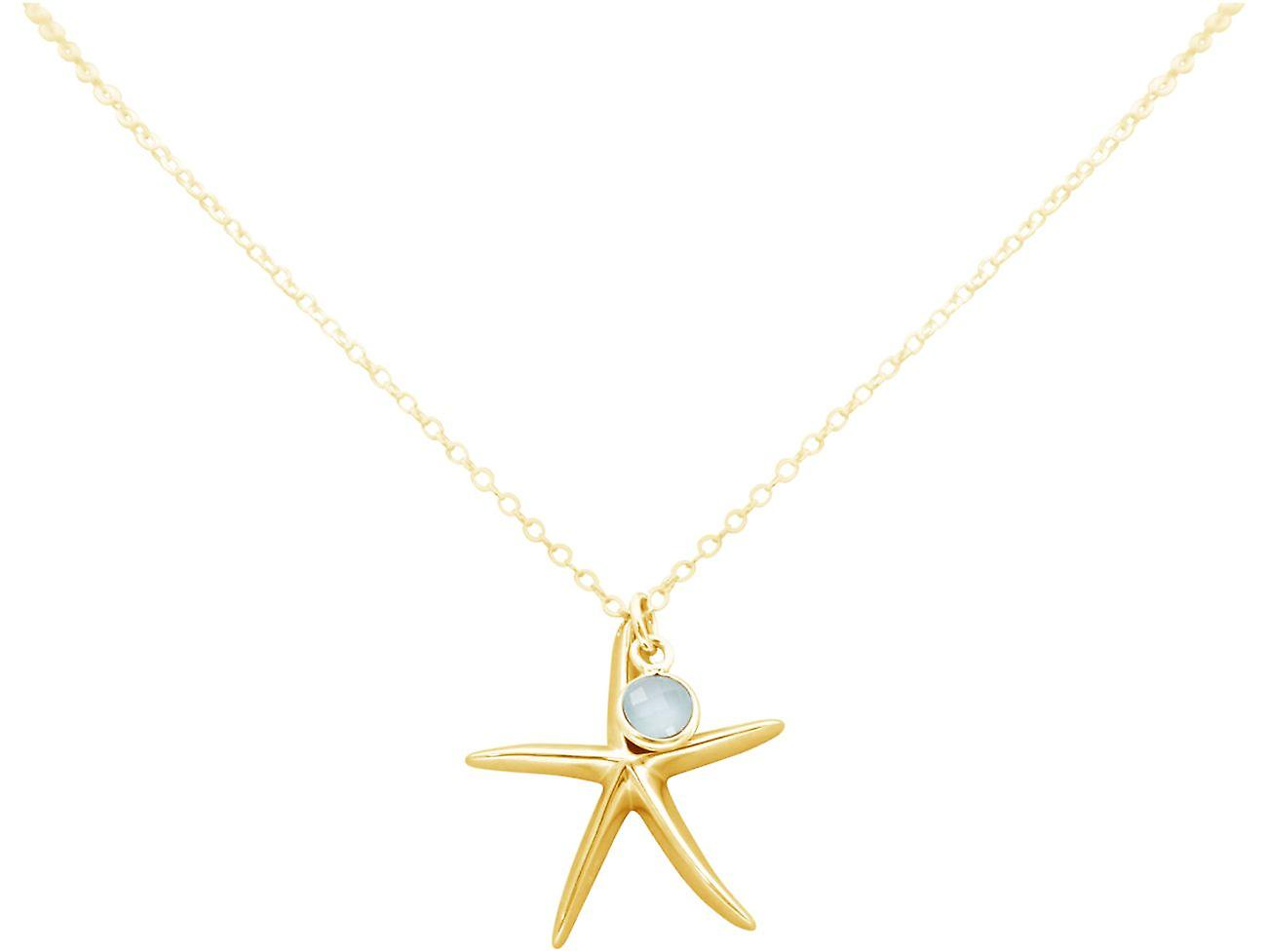 GEMSHINE Maritim Halskette Seestern 925 Silber, vergoldet oder rose, Chalcedon