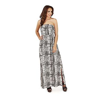Pistachio Women's Animal Floral Print Long Bandeau Maxi Summer Dress