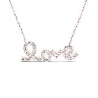Igi certified 10k rose gold 0.15 ct natural diamond love pendant necklace
