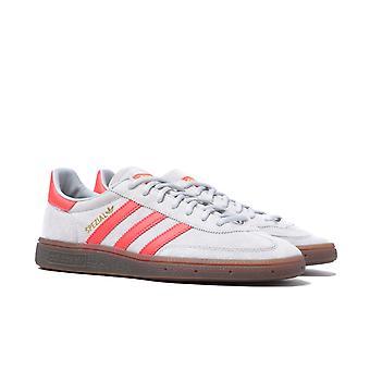 Adidas Originals Handball Spezial Grey Suede & Red Trim Trainers