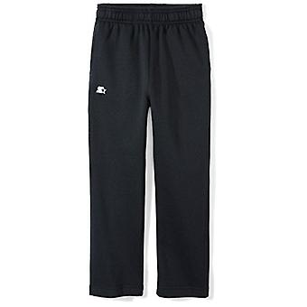 Starter Boys' Open-Bottom Sweatpants with Pockets, Amazon, Black, Size X-Small