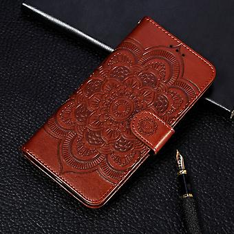 For iPhone 11 Case Brown Mandala Emboss Pattern Folio Cover with Card & Cash Slots, Lanyard & Kickstand