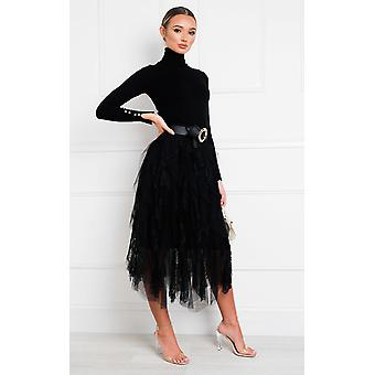 IKRUSH Womens Rada Layered Net Midi Skirt