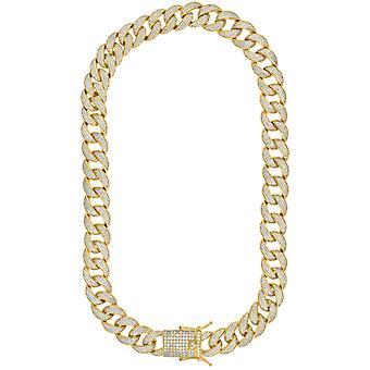 925 sterling sølv gul tone mens CZ cubic zirconia simulert diamant miami fortauskant kjeden 16mm 26 tommers smykker gaver til