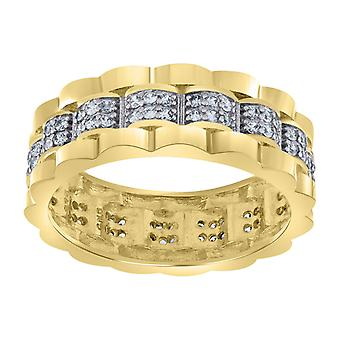 925 Sterling Silver Mens Two tone CZ Cubic Zirconia Simulated Diamond Presidential 7.5mm Eternity Ring Jewelry Gifts for