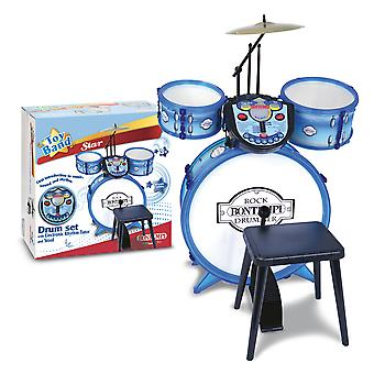Bontempi Metallic Silver Drum Set 4 PCS Cu Electronic Rhythm Tutor and Stool Bontempi metalice de argint Tambur Set 4 PCS cu electronic Ritm Tutor și scaun