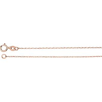 14k Rose Gold .75mm Necklace Rope Chain With Spring Ring Jewelry Gifts for Women - Length: 16 to 24