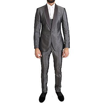 ドルチェ&ガッバーナ シルバー シルク バロック シングル ブレストスーツ