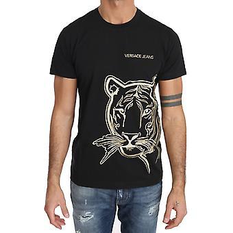 Versace Jeans Black Cotton Gold Tiger Motive Crewneck T-Shirt