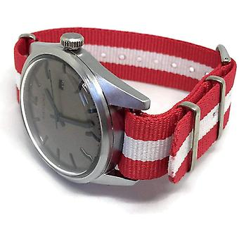 N.a.t.o zulu g10  watch strap red and white switzerland, denmark, austria flag stainless buckle