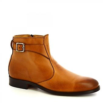Leonardo Shoes Men's handmade ankle boots in brandy calf leather with side zip