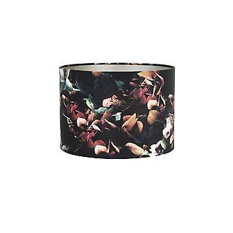 Licht & Living Zylinder Schirm 50x50x38cm VELOURS Hydrangea Schwarz