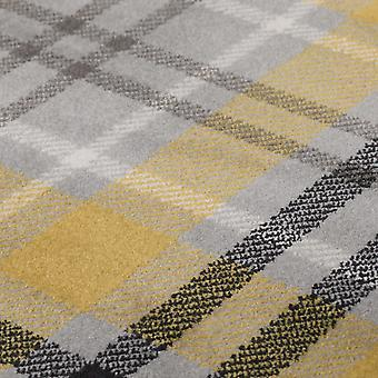 Coquetel Highland Tartan Check Runner Rugs In Ochre Yellow