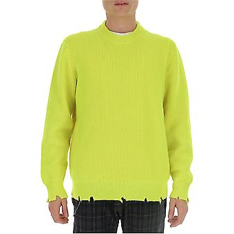 Laneus Mgu770cc21var4maltinto Men's Yellow Cashmere Sweater