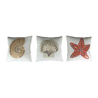 Set of 3 Nautical Accent Throw Pillows Starfish Seashell Decorative Cushions