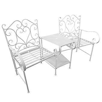 Outsunny Outdoor Garden Metal Companion Seat Loveseat with Middle Small Table High Decorative Backrest 2 Seater White