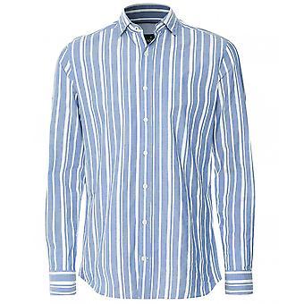 Hackett bomuld linned bred stribe skjorte