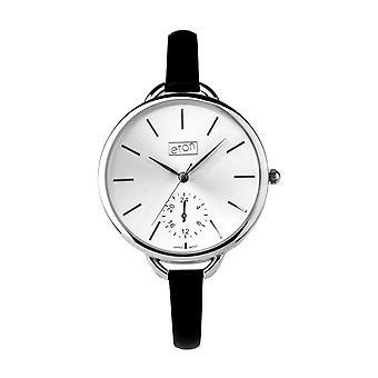 Eton Fashion Watch, Black Leather Slim Strap, Classic Dial 3200LN-BK