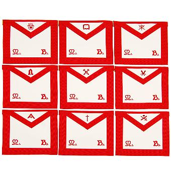 Masonic scottish rite officers tablier (reaa) broderie - ensemble de 9
