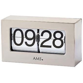 AMS 1175 table clock quartz silver metal folding figures fold-out numbers clock square