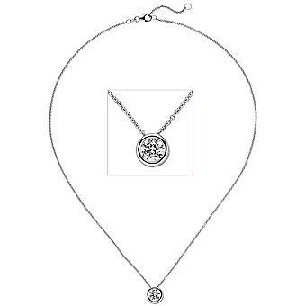 Women's Colllier Necklace with Pendant 585 Gold White Gold 1 Diamond Brilliant 1.0ct. 45 cm