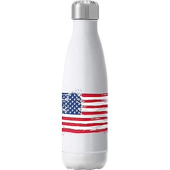 USA American Flag Paint Insulated Stainless Steel Water Bottle