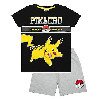 Pyjamas Pokemon pour garçons | Kids Electric Pikachu T Shirt & Pokeball Shorts | Jeu de PJs Grey & Black Pokeball #025 Childrens