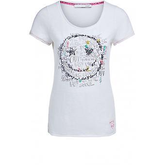 Oui Pailletten Smiley Gesicht T-Shirt