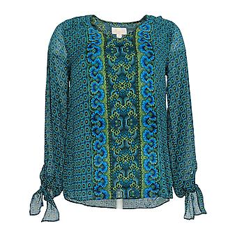 Belle by Kim Gravel Women's Top Bohemian Border Print Blouse Blue A343364