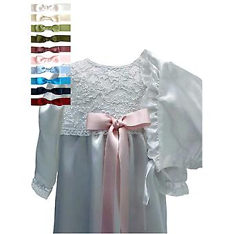 White Lace Christening Gown And Bonnet, 10 Choices Of  Bow – Grace Of Sweden Ma.v