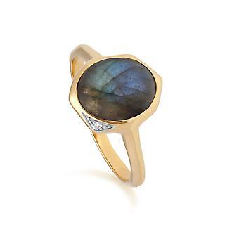 Irregular B Gem Labradorite & Diamond Ring in Gold Plated Sterling Silver  270R057505925