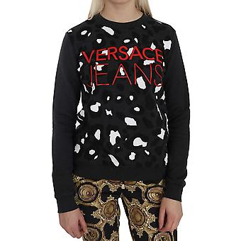 Versace Jeans Grå Leopard Print Couture Tröja