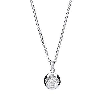 Jewelco Londen dames rhodium plated zilver wit ronde Cubic Zirconia Pave klaver cluster drop ketting 16 + 1 inch