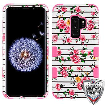 MYBAT Pink Fresh Roses/Electric Pink TUFF Hybrid Phone Protector Cover for Galaxy S9 Plus