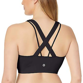 الأساسية 10 المرأة & ق الطيف Longline عبر الظهر الرياضة حمالة الصدر, أسود, 3X (22W-24W)