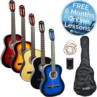 -Fås i Blueburst, naturlig eller Sunburst-3rd avenue 3/4 størrelse klassisk Guitar Pack
