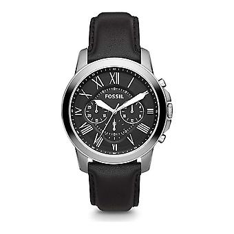 Fossil Grant Chronograph Black Leather Mens Watch FS4812