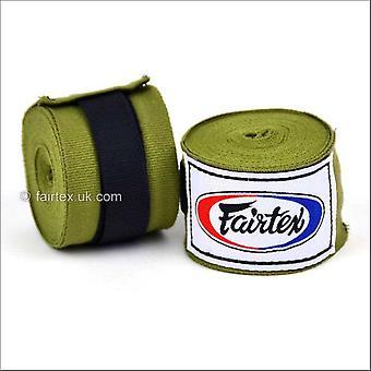 Fairtex 4.5m stretch hand wraps - olive green
