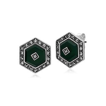 Art Deco Style Dyed Green Chalcedony & Marcasite hexagon Stud Earrings in 925 Sterling Silver 214E872901925